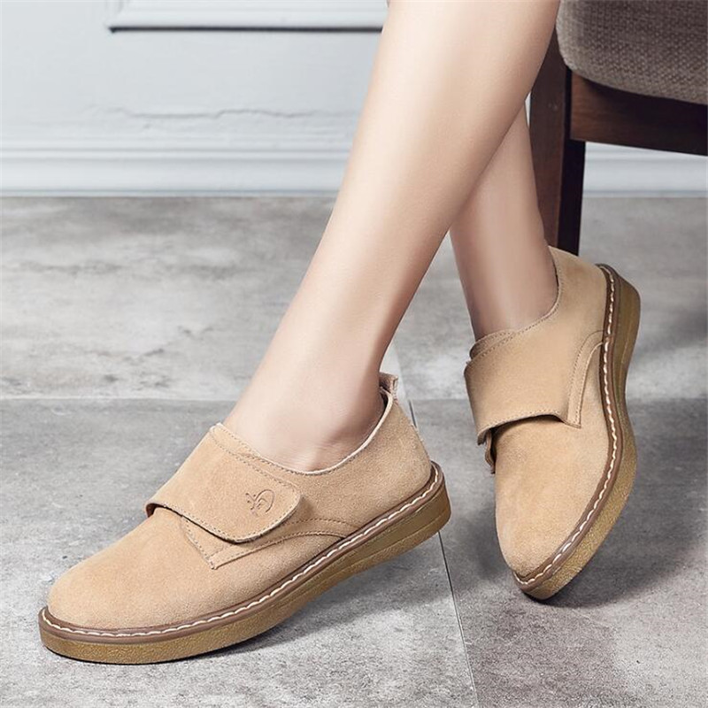 Cow Suede Leather Women Flats Oxford Shoes Spring Ladies Sneakers Loafers Casual Shoe Moccasin Plus Size Autumn Boat Shoes,Black989,5