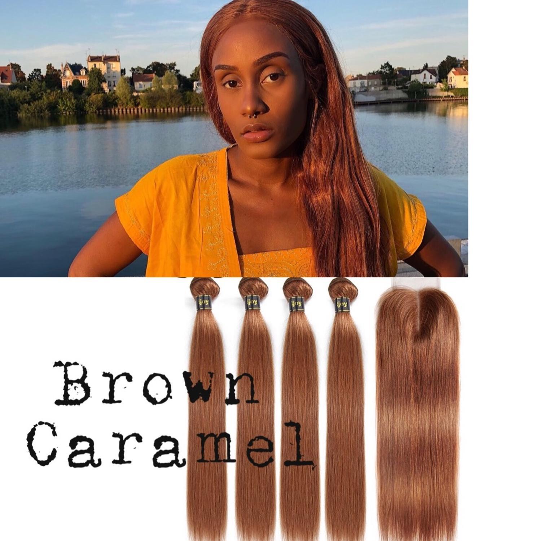 "Straight Human Hair 4 Bundles With Closure 4x4 Lace #30 Brown Caramel 8""-26"" M Brazilian Hair Weave Bundles Non-Remy IJOY"