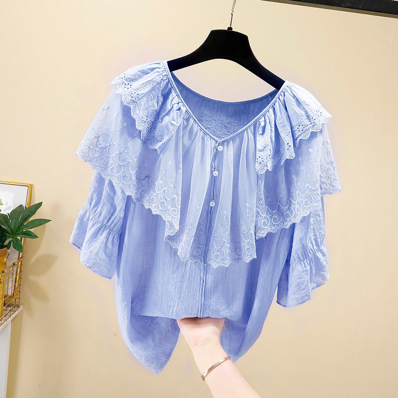 Women Spring Summer Style Chiffon Blouses Shirts Lady Casual Short Sleeve Ruffles Decor V-Neck Chiffon Blusas Tops DF3818 9
