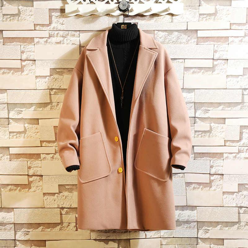 2020 캐주얼 클래식 봄 가을 패션 브랜드 의류 양털 두꺼운 따뜻한 모직 코트 블렌드 남성 코트 자켓