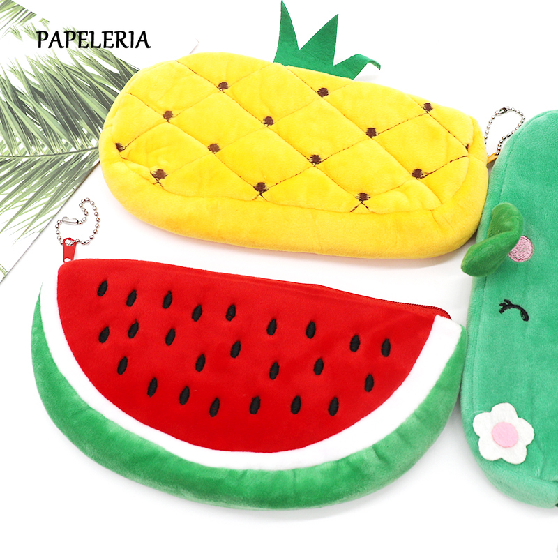 Cactus Plush Pencil Case Kawaii Fruit Watermelon Pencil Bag Pen Box For Boy Girl Stationery Pouch Office Supplies School Purse