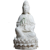 Ceramic Guanyin Buddha Statue Figure Art Sculpture White Porcelain Crafts Sitting Lotus Buddha Feng Shui Home Decoration R2893