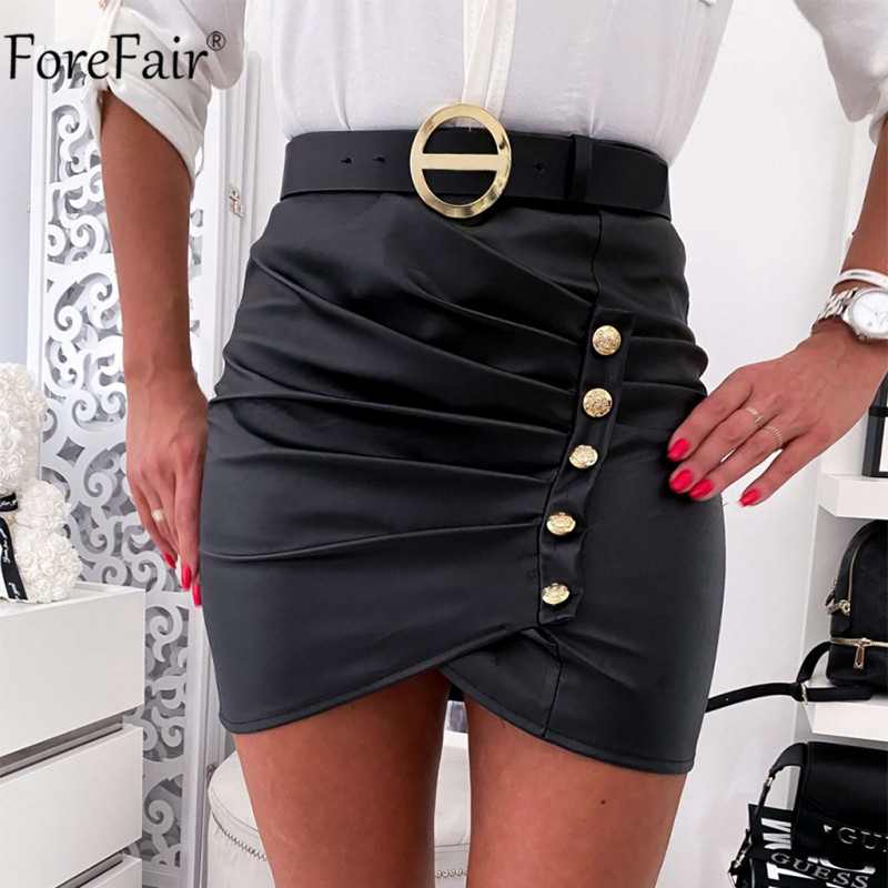 Forefair Button Ruched Women PU Leather Skirt Black Summer Mini High Waist Bodycon Office Pencil Sexy Skirts Party