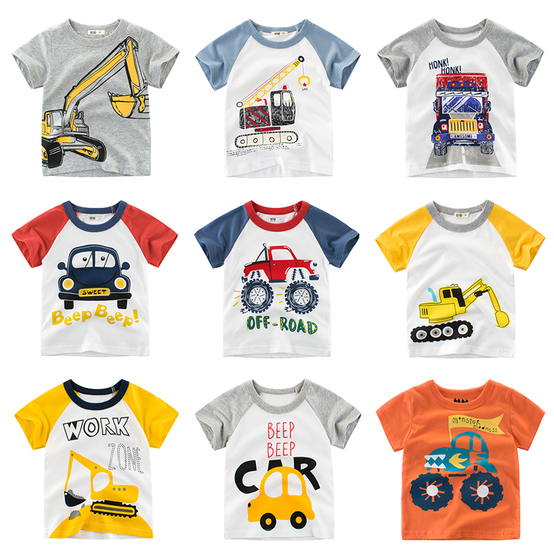 Tees Tops Short  Sleeves  Car Machine Boys Kids Shirt Clothing Baby Toddler Infant Clothes Cotton Print Cartoon Tee 2-8 Years