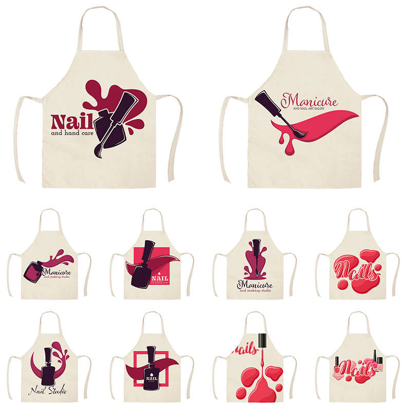 Linen Flower Nail Polish Theme Print Kitchen Aprons Unisex Dinner Party Cooking Bib Funny Pinafore Cleaning Apron WQI836