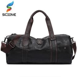 Bolso deportivo de cuero PU de gran capacidad para hombres, bolso de gimnasio, bolsas de deporte de Fitness, bolso de hombro de viaje, bolso de hombre negro marrón