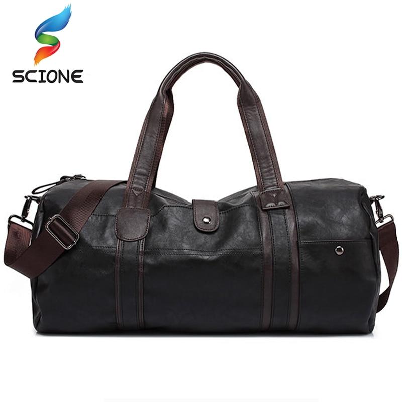 Hot Men s Large Capacity PU Leather Sports Bag Gym Bag Fitness Sport Bags Travel Shoulder
