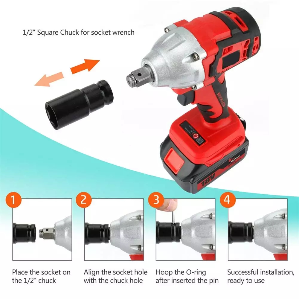 Tools : 88VF 520N m Cordless Electric Impact Wrench Brushless Electric Wrench Power Tool Rechargeable Wrench With Battery Sockets