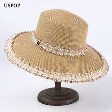 USPOP New sun hats women wide brim straw vintage letter M beach female summer