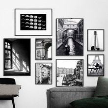 Paris Venice Window Guitar Moon Wall Art Canvas Painting Black White Nordic Posters And Prints Pictures For Living Room Bar