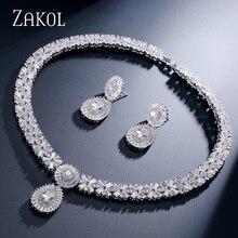 Zakol cz zircônia colar brincos conjunto nigeriano casamento africano traje grande conjunto de jóias com cristal claro pedra fssp232