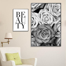 Nordic Canvas Art Flower Rose Poster Print Painting For Living Room Modern Wall Picture Beauty Quote Black And White Deco(China)