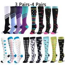 Calcetines de compresión multicolores para hombre y mujer, calcetín deportivo a presión, para viaje, 3/4 pares