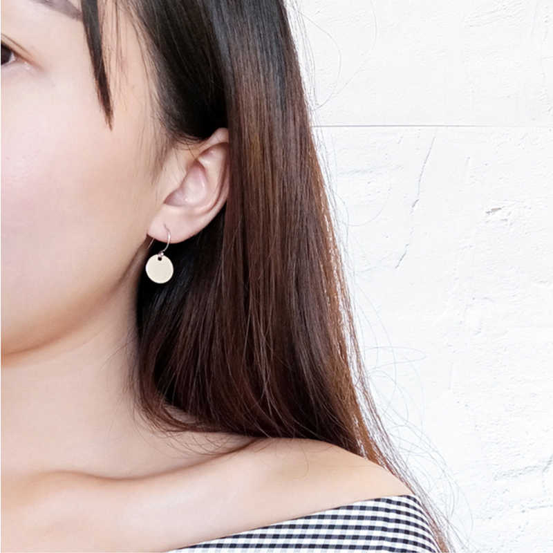 CARTER LISA nowy 2019 osobowość minimalistyczny geometryczny Metal mini-dysk okrągłe kolczyki biżuteria hurtowych i detalicznych kobiet prezenty