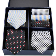 Men's 3pcs 7.5cm Classic Handkerchief Necktie Set Striped Ties Man Bridegroom Business Accessories Gift Box