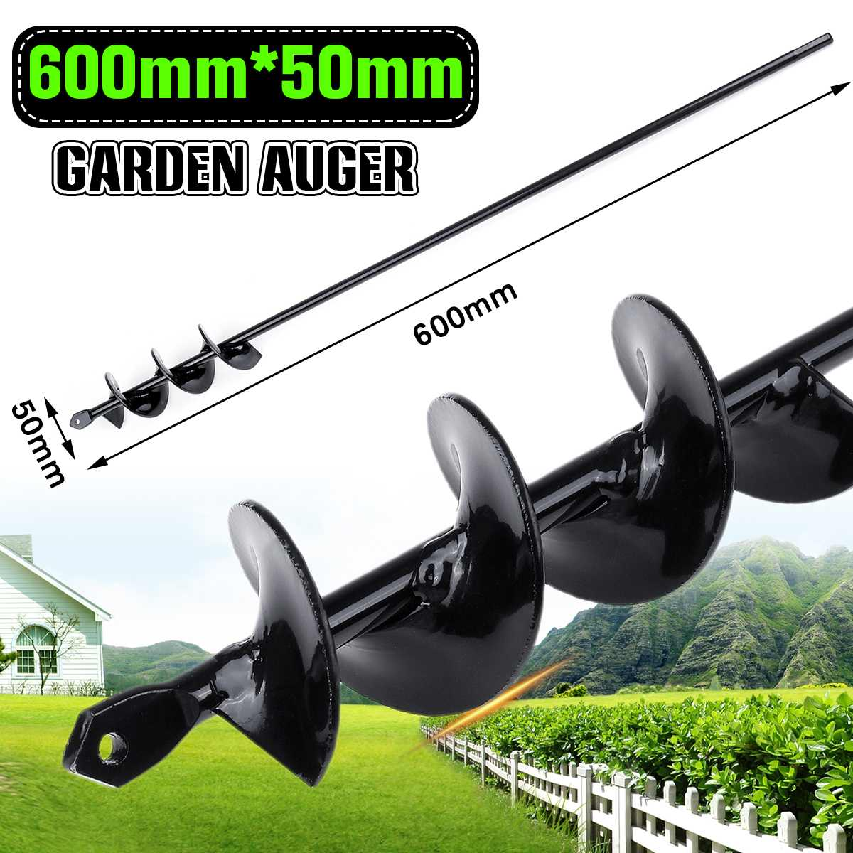 1pcs Earth Auger Hole Digger 600x50mm Tool Garden Planting Machine Drill Bit Borer Post Hole Digger Garden Auger Tool