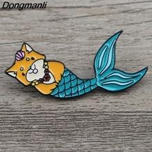K326 Dog Mermaid Funny Pins Enamel Brooches for Women Lapel pin Cartoon Metal Badge Collar Jewelry Gifts 1pcs
