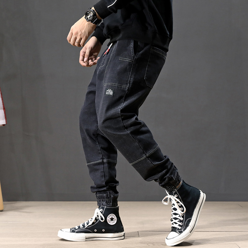 Autumn Fashion Men Jeans Black Loose Fit Japanese Vintage Harem Jeans Men Cargo Pants Spliced Designer Hip Hop Joggers Jeans