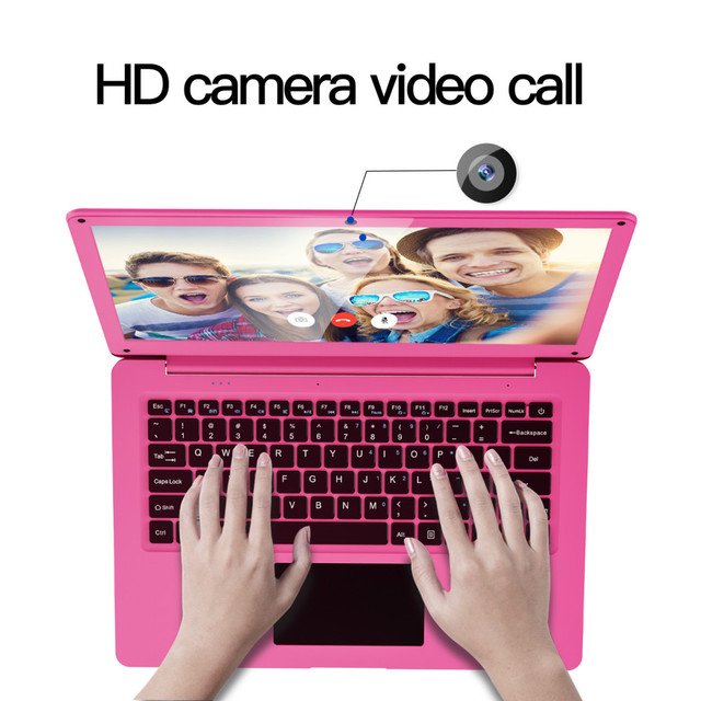 12.5 Inch Pink Laptop Notebook PC 4GB RAM + 64GB SSD Intel Celeron N3350 Ultrabook Dual-Core 2.40 GHz Small Laptops Mini Netbook 3