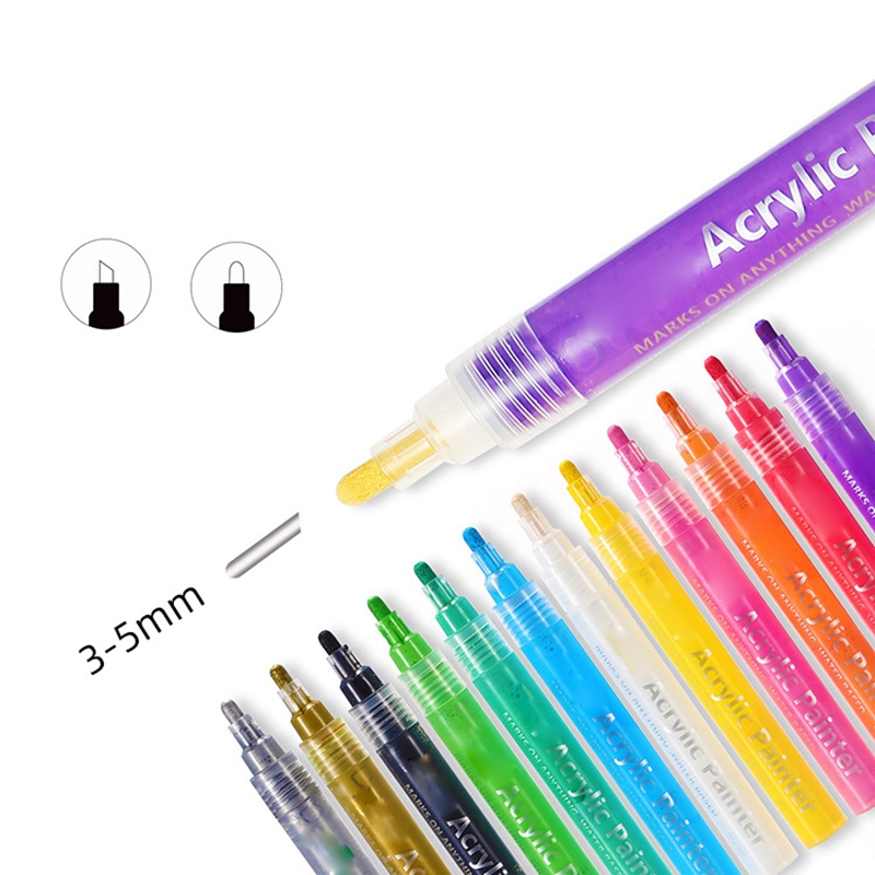 Image 2 - 24 Colors Acrylic Paint Marker Pens Paint Pens for Rocks Painting Fabric Diy Craft Card Making Art School Supplies-in Marker Pens from Office & School Supplies