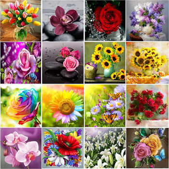 5D diamond painting DIY landscape flower color rose diamond embroidery diamond embroidery handmade cross stitch kit Christmas or