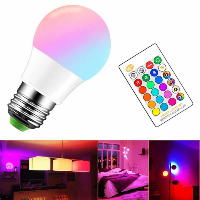 Control remoto 16 cambio de color bombilla LED inteligente 220V RGB RGBW RGBWW lámpara Led regulable E27 para decoración del hogar Bar fiesta