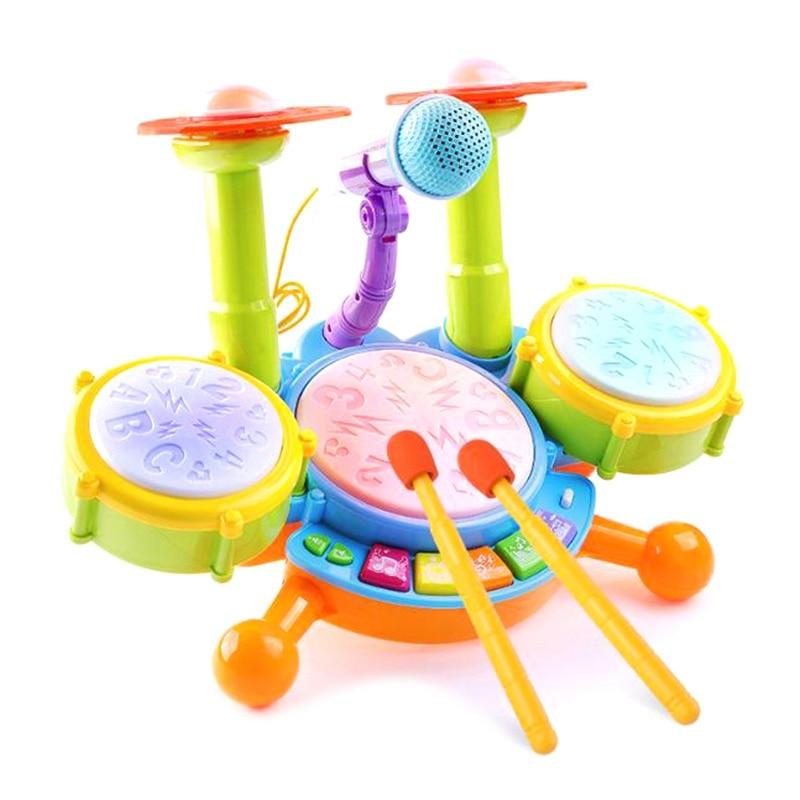 Children\'S Jazz Drum Set Musical Instrument Beat Flash Toy Toy Rock Roll Jazz Drum Set With Adjustable Microphone