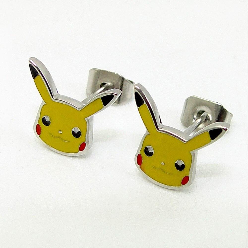 Stainless steel Pikachu Earrings girl Cute Japanese animal rabbit Cartoon Stud Earrings Pokemon Pocket Monster women Gift bricos