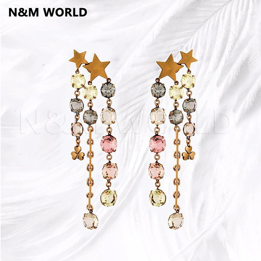 Star Letter Colored Rhinestone Chain Tassel Long Dangle Earrings Fashion Simple Design 2019 Pretty Jewelry Gift