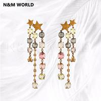 Star Letter Colored Rhinestone Chain Tassel Long Dangle Earrings Fashion Simple Design 2019 Pretty Jewelry Gift
