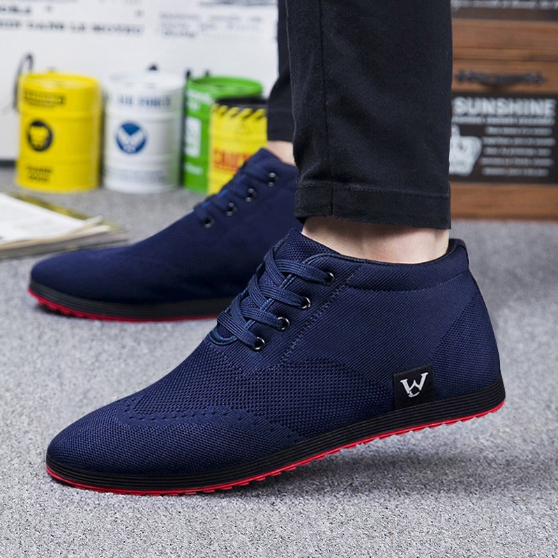 Alto-Top Homens Sapatos Respirável Dos Homens Sapatos Casuais Lace-Up Sapatos de Lona 2019 Outono Inverno Moda Flat Shoes Zapatillas Hombre