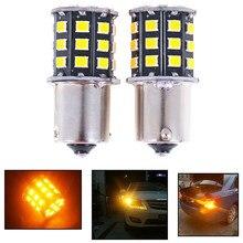 Ampoule haute puissance BAU15S 7507 PY21W 1156PY, ambre jaune 33 SMD 2835, 2 pièces, pour clignotants avant, lampe indicateur de Direction