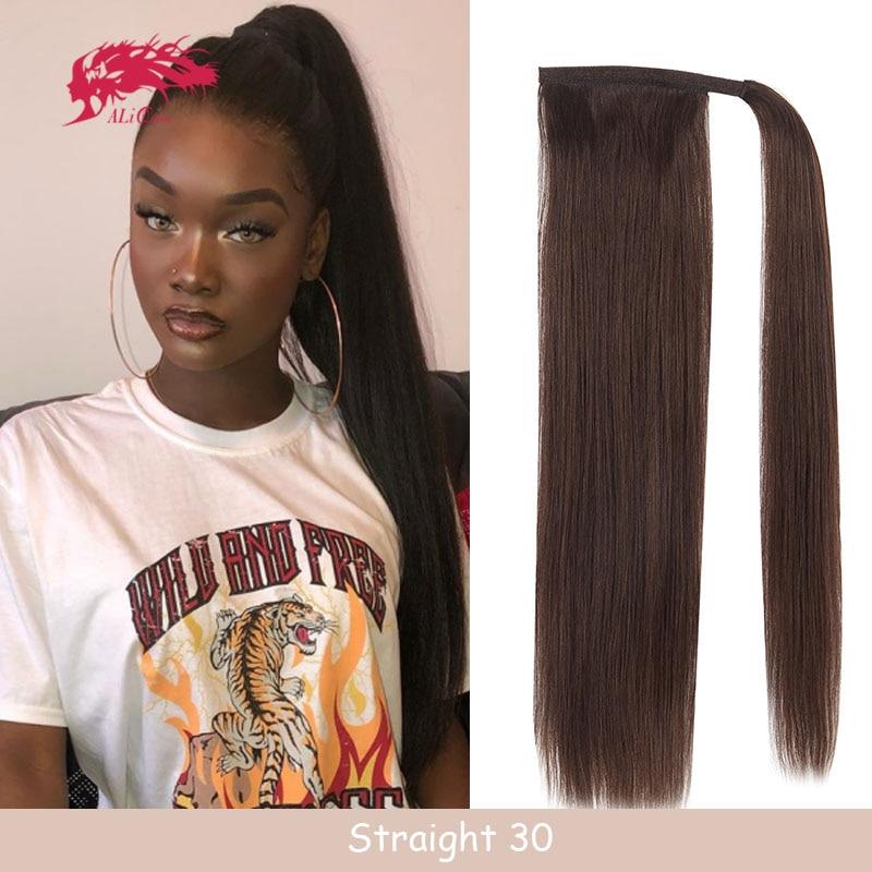 Шнурок конский хвост с зажимом человеческие натуральные волосы для наращивания женские волосы прямые обертывание вокруг Тай бразильские в...