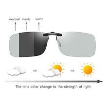 Fotokromik güneş gözlüğü üzerinde klip polaroid lens erkekler shortsighted sürüş gözlükleri gece görüş yakın görüş miyopi antiglare gözlüğü