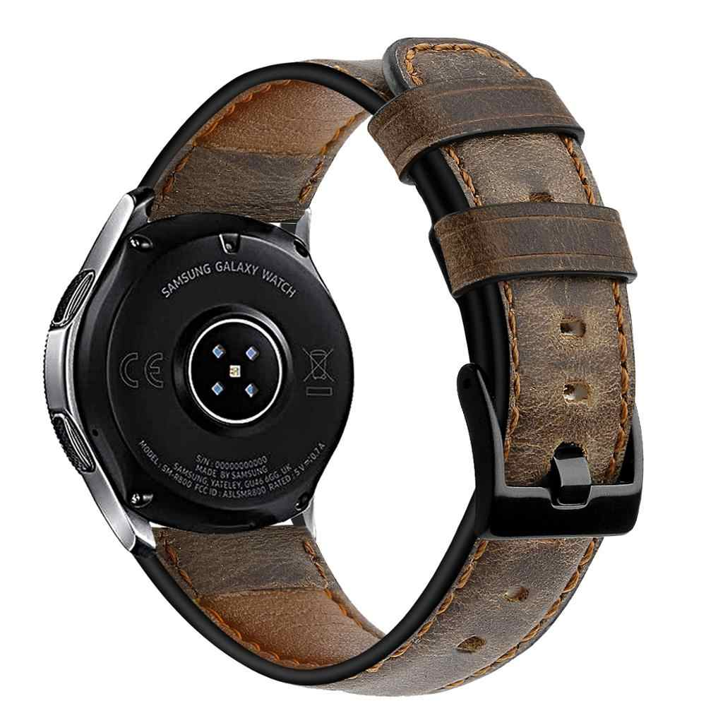 Kulit Asli Band untuk Samsung Galaxy Menonton 46 Mm Tali Gear S3 Frontier Gelang 22 Mm Watchband Huawei Watch 2 GT Tali 46 Mm