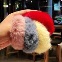 Turbante para el pelo de invierno para chica, accesorios para el pelo de goma elástica para el pelo, piel sintética suave, para mujer