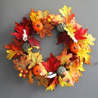 Artificial Pumpkin Wreath Autumn Harvest Maple Leaf Front Door Garland Thanksgiving Decoration Halloween Party Supplies 45cm