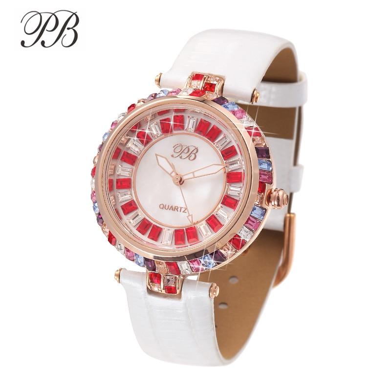 PB часы женские наручные Многоцветный блеск кристалл жемчужина повседневные платья женские часы водонепроницаемые люксовый бренд кварцевы