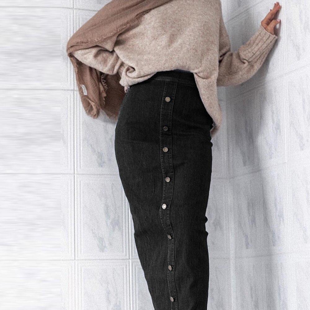 Image 2 - Faldas Mujer Moda 2019 High Waist Button Long Denim Skirt Women  Jeans Pencil Bodycon Maxi Skirts Jupe Longue Femme SpodnicaSkirts   -