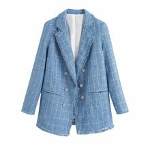 Tweed women vintage blue blazers 2020 fashion ladies elegant thick blazer jacket
