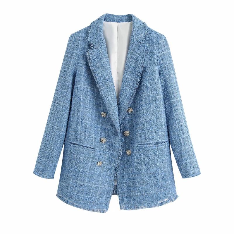 Tweed Women Vintage Blue Blazers 2020 Fashion Ladies Elegant Thick Blazer Jackets Casual Female Loose Suit Girls Chic Jacket