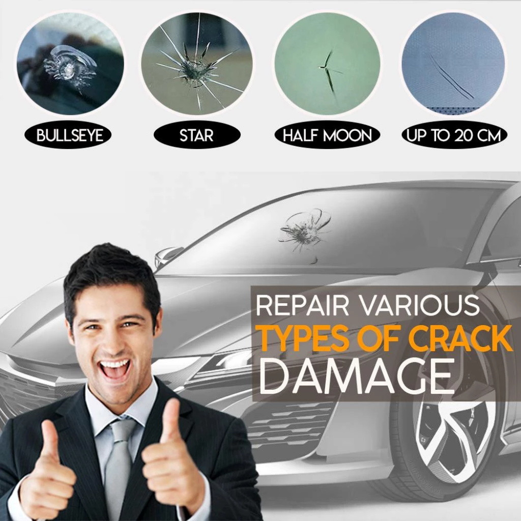 Automotive Glass Windshield Repair Tool kit with Crack Chip for Car or Window glass 8