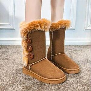 Image 2 - Buty damskie śniegowce duże rozmiary wysokie rurki klasyczne modele z grubego polaru jesienne zimowe buty śnieżne w dużych rozmiarach z bawełny buty buty dobrej jakości