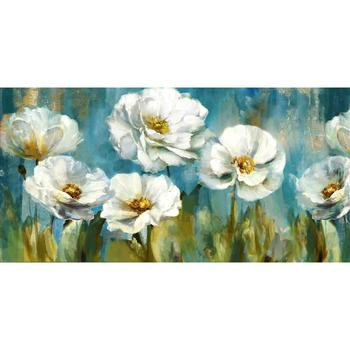Abstract canvas art White Flower Green Poppy Florals Tulip Blossom 100% hand painted oil painting modern artwork for living room