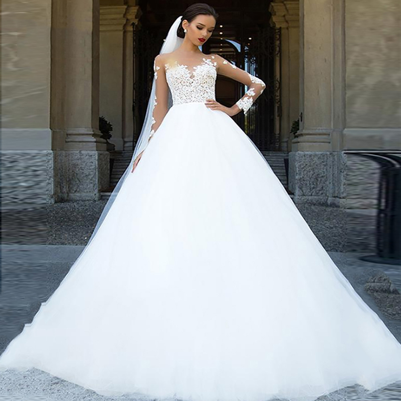SoDigne Long Sleeves Wedding Dress 2020 Beach Bridal Gown Tulle Lace Appliques White/Ivory Romantic Buttons Wedding Dresses