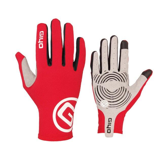 Giyo tela sensível ao toque longo dedos completos gel luvas de ciclismo esportes mtb bicicleta de estrada equitação luvas de corrida 5