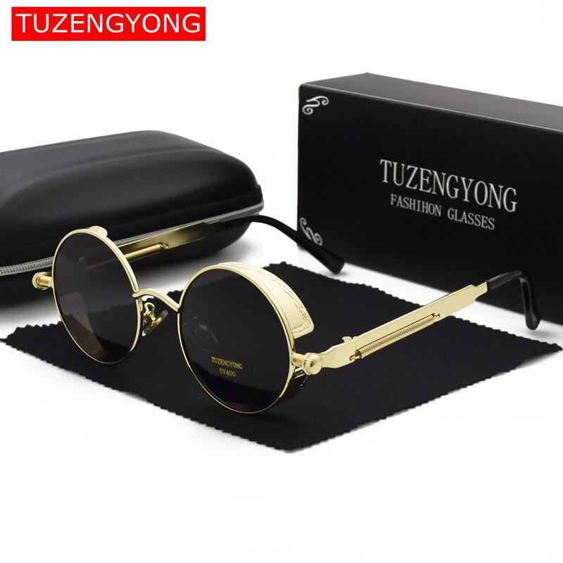 2019 gothique Steampunk lunettes de soleil polarisées femmes marque concepteur hommes Vintage rond en métal cadre lunettes de soleil de haute qualité UV400