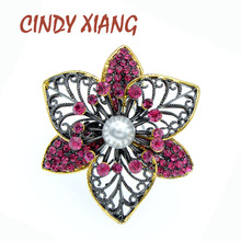 CINDY XIANG Rhinestone Hollow-out Flower Brooches For Women Multi-layer Design Fashion Pearl Brooch 2 Colors Available Good Gift chic hollow out flower rhinestoned brooch for women