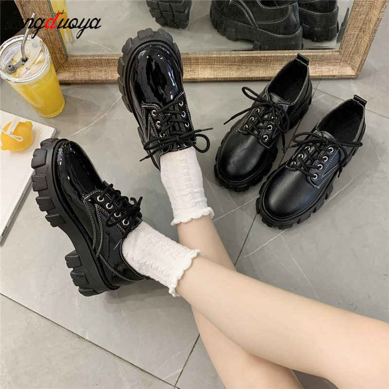 Mary Jane Shoes for Women Vintage Japanese School Jk Student Pumps British Style Round Toe Lace Up Platform Chunky Heels