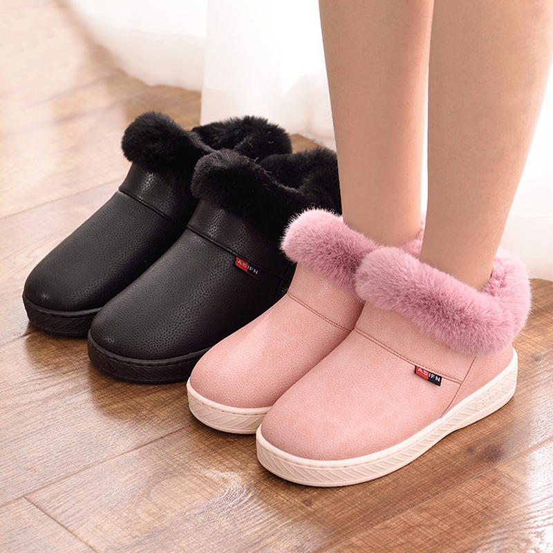 Women Men Boots Waterproof Winter Warm Fur Ankle Couple House Thick Soled Cotton Shoes Ladies Girls Boys Botas Mujer Zapatos